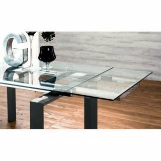 EPSYLON Table repas extensible en verre, piétement bois teinté gris anthracite