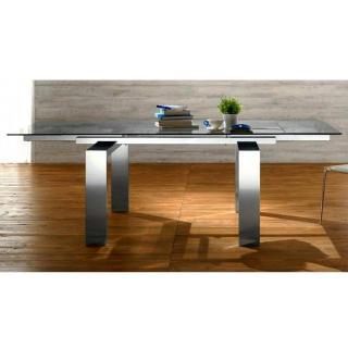 EPSYLON Table repas extensible, plateau en verre, piétement en métal chromé