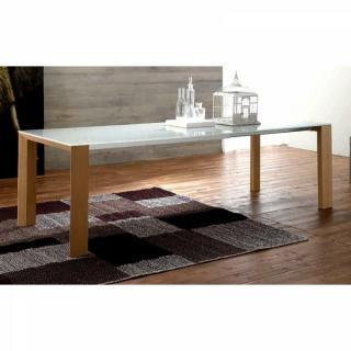 EQUINOX Table repas extensible en verre sérigraphié piétement bois naturel