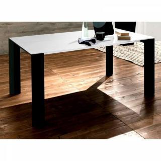 EQUINOX Table repas extensible en verre sérigraphié blanc piétement bois teinté noir