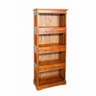 Bibliothèque étagère API 3 tablettes et 6 tiroirs en teck massif