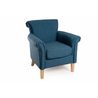 Fauteuil aliénor design cosy KATE tissu bleu azur