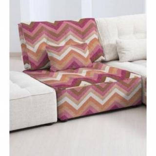 FAMA Chauffeuse modulable ARIANNE LOVE motifs zigzag multicolor rose 1 place