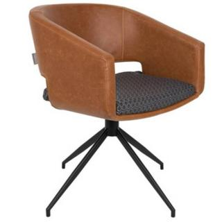Fauteuil ARMCHAIR BEAU BROWN pivotant design marron vintage