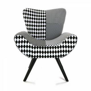 fauteuil design au meilleur prix fauteuil astrid motif pied de poule noir blanc inside75. Black Bedroom Furniture Sets. Home Design Ideas