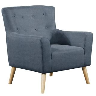 fauteuil fixe design scandinave BELLARIA tissu tweed bleu foncé