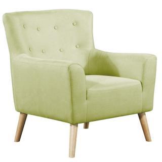 fauteuil fixe design scandinave BELLARIA tissu tweed vert