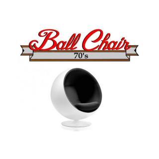 Fauteuil boule, Ball chair coque blanche / intérieur velours noir. Design 70's.