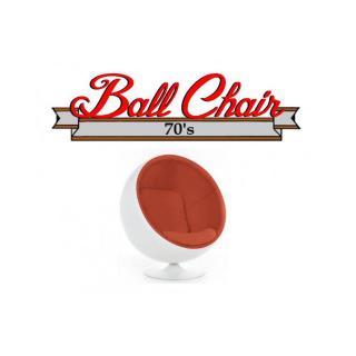 Fauteuil boule, Ball chair coque blanche / intérieur velours orange. Design 70's.