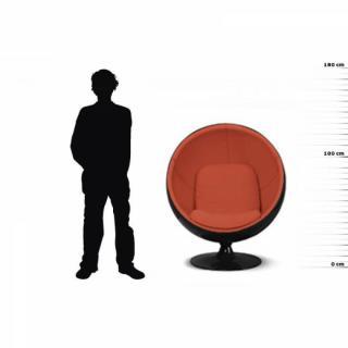 Fauteuil boule, Ball chair coque noir / intérieur velours orange. Design 70's.