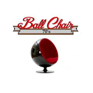 Fauteuil boule, Ball chair coque noir / intérieur velours rouge. Design 70's.