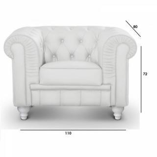 Canap chesterfield en cuir velour au meilleur prix fauteuil fixe ches - Fauteuil blanc capitonne ...