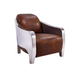 Fauteuil NEW CLUB Prestige AVIATEUR en cuir marron vieilli vintage et chromé