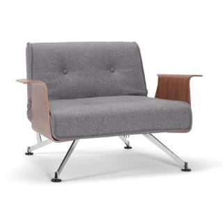 INNOVATION LIVING Fauteuil design CLUBBER accoudoirs gris convertible lit 92*115cm