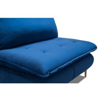 Fauteuil lit convertible express LISBONNE 70cm sommier à lattes matelas 13cm velours bleu