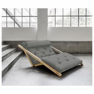 Fauteuil futon style scandinave VIGGO pin massif tissu gris couchage 120*200 cm.