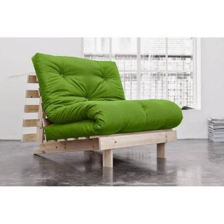 Fauteuil BZ style scandinave ROOTS NATURAL futon vert lime couchage 90*200cm