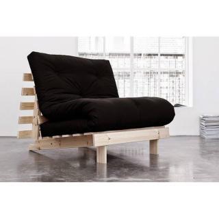 Fauteuil BZ style scandinave ROOTS NATURAL futon noir couchage 90*200cm