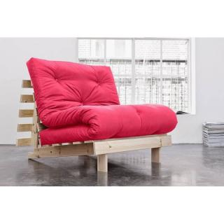 Fauteuil BZ style scandinave ROOTS NATURAL futon rose magenta couchage 90*200cm