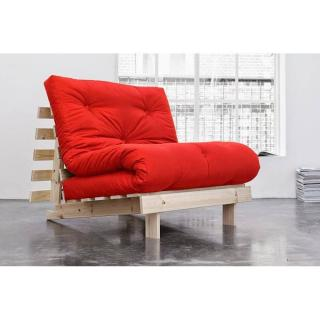 Fauteuil BZ style scandinave ROOTS NATURAL futon rouge couchage 90*200cm