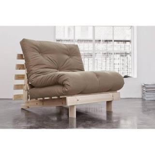 Fauteuil BZ  style scandinave ROOTS NATURAL futon taupe couchage 90*200cm