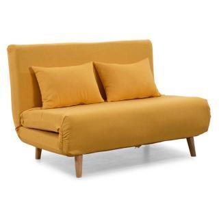 Canapé 2 places convertible design scandinave ULTRECHT pieds chêne clair tissu microfibre jaune