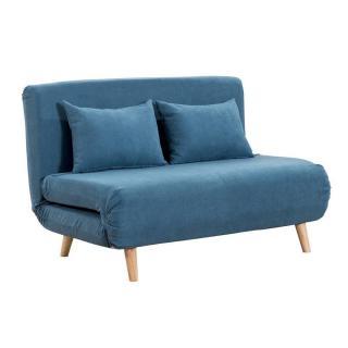 Canapé 2 places convertible design scandinave ULTRECHT pieds chêne clair tissu microfibre turquoise