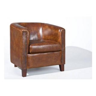 Fauteuil vintage CORNWELL en cuir marron