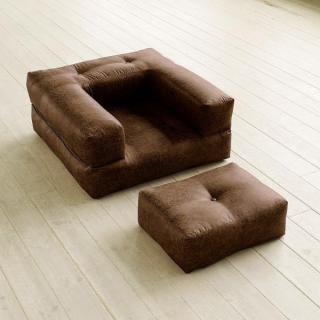 Fauteuil CUBE 3 en 1 futon aspect cuir vintage chocolat couchage 90*190*25cm