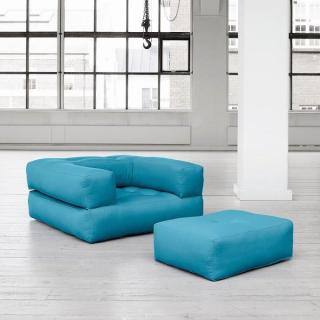 Fauteuil CUBE 3 en 1 futon bleu azur couchage 90*190*25cm