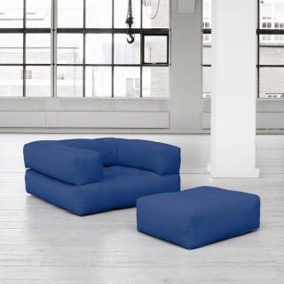 Fauteuil CUBE 3 en 1 futon bleu royal couchage 90*190*25cm