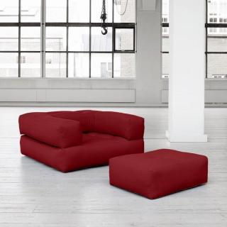 Fauteuil CUBE 3 en 1 futon bordeaux couchage 90*190*25cm