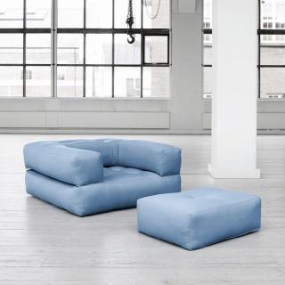 Fauteuil CUBE 3 en 1 futon bleu celeste couchage 90*190*25cm