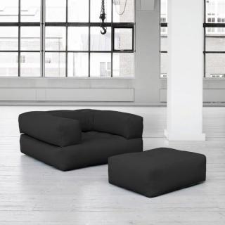 Fauteuil CUBE 3 en 1 futon grey graphite couchage 90*190*25cm