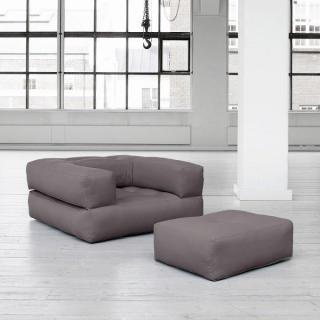 Fauteuil CUBE 3 en 1 futon gris couchage 90*190*25cm