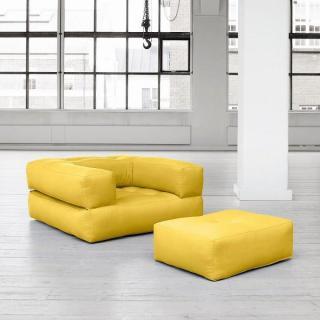Fauteuil CUBE 3 en 1 futon jaune couchage 90*190*25cm