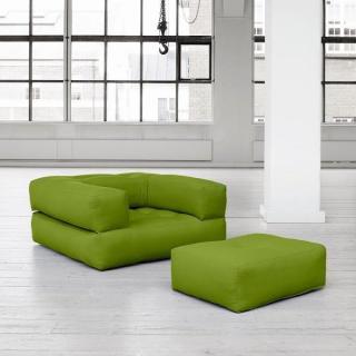 Fauteuil CUBE 3 en 1 futon lime couchage 90*190*25cm