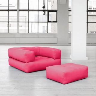Fauteuil CUBE 3 en 1 futon rose magenta couchage 90*190*25cm
