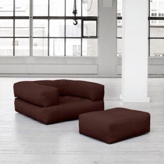 Fauteuil CUBE 3 en 1 futon marron couchage 90*190*25cm