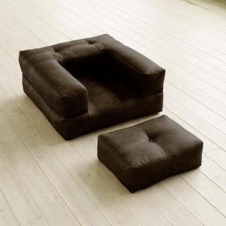 Fauteuil CUBE 3 en 1 futon aspect cuir vintage moka couchage 90*190*25cm
