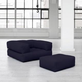 Fauteuil CUBE 3 en 1 futon navy couchage 90*190*25cm