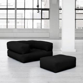 Fauteuil CUBE 3 en 1 futon noir couchage 90*190*25cm