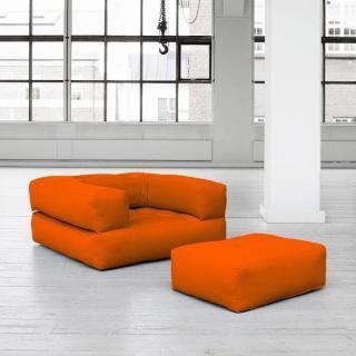 Fauteuil CUBE 3 en 1 futon orange couchage 90*190*25cm