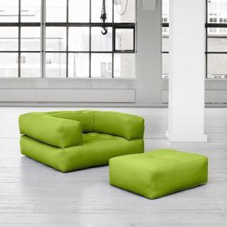 Fauteuil CUBE 3 en 1 futon vert pistache couchage 90*190*25cm