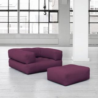 Fauteuil CUBE 3 en 1 futon purple couchage 90*190*25cm