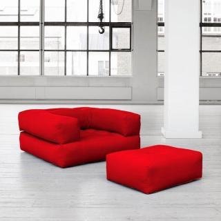 Fauteuil CUBE 3 en 1 futon rouge couchage 90*190*25cm