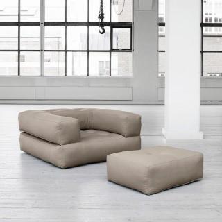 Fauteuil CUBE 3 en 1 futon taupe couchage 90*190*25cm