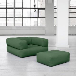 Fauteuil CUBE 3 en 1 futon vert couchage 90*190*25cm