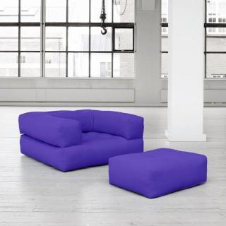 Fauteuil CUBE 3 en 1 futon violet couchage 90*190*25cm