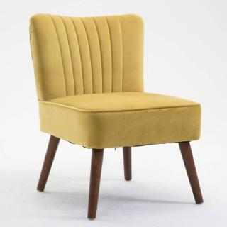 Fauteuil design scandinave GOËT velours jaune
